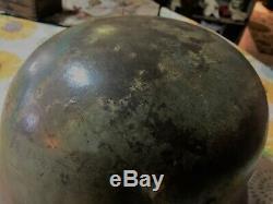 100% Original German Ww2 M40 Q66 Camo Helmet Green Tan 30 Day Inspection