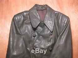 100% Original WW2 German Wehrmacht Officers leather overcoat sz 36 small