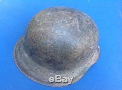 100% Real Ww2 Normandy German Combat Helmet, Original Paint, Liner & Strap