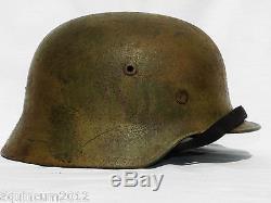 100% original WW2 GERMAN M40 SS/ELITE Normandy pattern CAMO HELMET ET64
