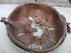 100% original WWII German Combat helmet liner with partial chin strap