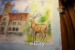 1937 German original watercolor Konigswalde Neu Mark ww2 Deer special signed