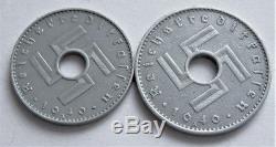1940 Ww2 Set Of 2 Nazi Original Military German Coin 5,10 Reichskreditkassen