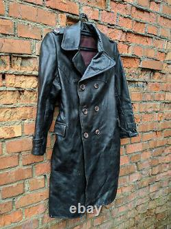 1940's German Leather Coat Vintage Motorcycle Military Black Overcoat WW2