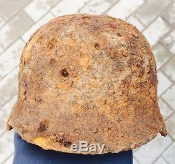 #43 WWII Germany German Original War Damaged Relic Combat Helmet LINER INTACT