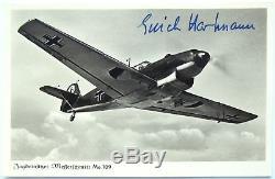 Erich Hartmann German All Time Highest Ace 352 Victories WW II Signed Postcard