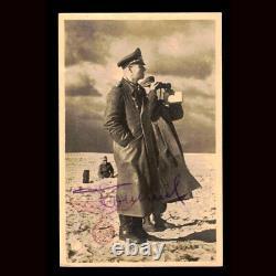 Erwin Rommel signed Sepia Photo Postcard JSA LOA German WWII General RARE