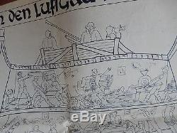 GERMAN HQ BRUSSELS WW2 Amazing original caricature humorous poster EUROPA BUILD