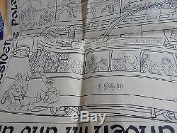 GERMAN HQ BRUSSELS WW2 Amazing original caricature humorous poster EUROPA BUILD
