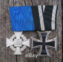 GERMAN WW1+WW2 mounted medal LONG SERVICE MEDAL-ORIGINAL