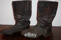 German Marching Boots Black Leather Nailed Sole 100% Original Ww2