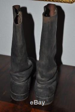 German Marching Elite Officer Boots Black Leather nailed sole 100% Original WW2