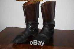 German Marching Short Combat Boots Black Leather Nailed Sole 100% Original Ww2