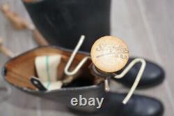 German Officer Boots Black Leather + Wooden Tensioner Strecko D. R. P. 100% WW2