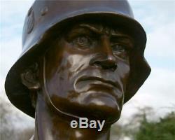 German Soldier Wehrmacht Army Bronze Marble Statue WWII