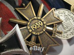 German WW I and WW II medal bar original iron cross second class original medals
