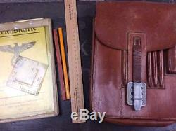 German WW2 Original 1936 Map case pencils Ruler compass
