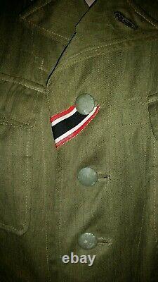 German WWII Tropical DAK M40 First Pattern Tunic & breaches. Original 100%