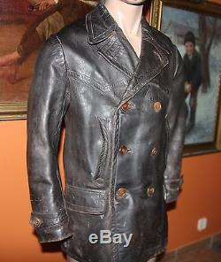 German Ww2 Kriegsmarine U-boot Leather Jacket Original Size 52 Nice Condition