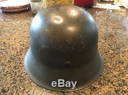 German helmet ww2 original m42 1943 68 very large great condition feldgrau