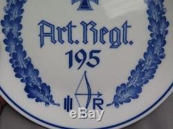 German ww2 Wehrmacht Heer Meissen porcelain plate 195 Art. Regt. 100% original
