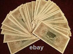 Lot of 59 NICE ORIGINAL BANKNOTES WW II NAZI GERMANY GERMAN 20 REICHSMARK