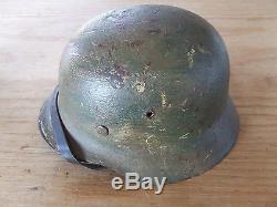Magnificent Original WW2 M35 German Army Combat Helmet Normandy Camo Heer