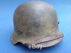 Original Dated Ww2 M42 Barn Find Normandy Camo Luftwaffe German Helmet Complete