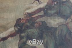 ORIGINAL OIL PAINTING WW2 scene german easternfornt 1943 MUST SEE