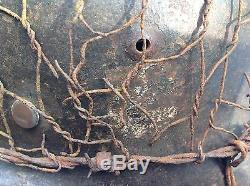 Original Ww2 Double Decal German Infantry Helmet With Liner And Wire Netting