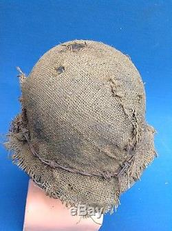 Original Ww2 German Combat Helmet With Decal, Cover And Barbed Wire