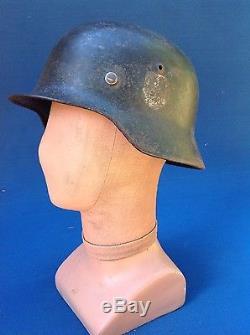 Original Ww2 German Elite Double Decal Original Paint & Liner Helmet
