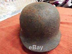 Original Ww2 German M35 Camo Army Helmet- Guaranteed 60 Day Return Privilege