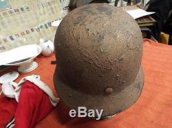Original Ww2 German M35 Camo DD Army Helmet- Guaranteed E60 Day Return Privilege
