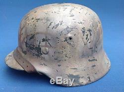 Original Ww2 German Normandy & Italy Campaign Camouflaged Helmet & Liner