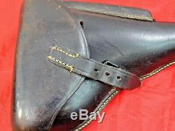 ORIGINAL WWII GERMAN LUGER P08 HARD SHELL HOLSTER P 08 P. 08 dated 1942 BLACK