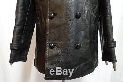 Original 1940'S WW2 German Horsehide Leather Kriegsmarine U-Boat Coat Jacket 40R