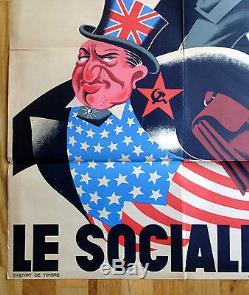 Original AVEC LOUVRIER SOLDAT POUR LE SOCIALISM German WWII Propaganda Poster