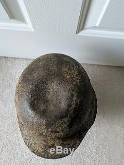 Original Battle Damage WW2 German M42 Tropical Camo Helmet