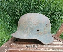 Original German Helmet M35 Relic of Battlefield WW2 World War 2 Number Q64