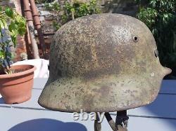 Original German WW2 M35 Normandy Camoflage Helmet