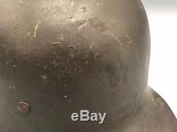 Original German WWI M17 Complete Green Helmet w Liner WW1 / WW2 Swastikas WWII