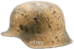 Original German WWII Southern Front Camouflaged M42 Helmet w Liner & Chinstrap