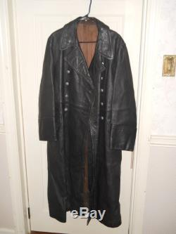 Original German WWII leather greatcoat, size 42