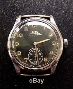 Original Military German Swiss Watch Arsa Dh Wehrmacht Ww2 Working Serviced