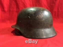 Original Rare German Ww2 M35 Helmet Se66 & Serial No Wwii Wehrmacht Luftwaffe Ss