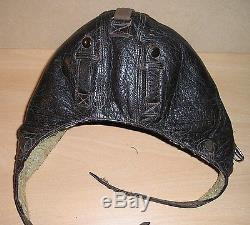 Original WW-II era German Model K33 Winter Fighter Pilot's Leather Flying Helmet