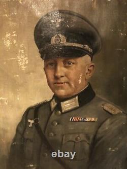 Original WW2 1942 German Wehrmacht Major Oil Painting In Original Frame