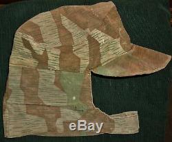 Original WW2 German Army Splinter Camo Elite Uniform Cap Hat no insignia helmet