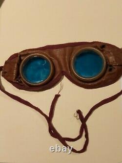 Original WW2 German Aviation BLUE Lens Leather Goggles. Scarce Item. Steampunk